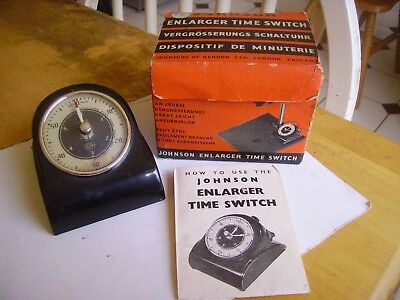 Vintage Johnsons Enlarger bakelite time switch ( Smiths timer) boxed about 1955.