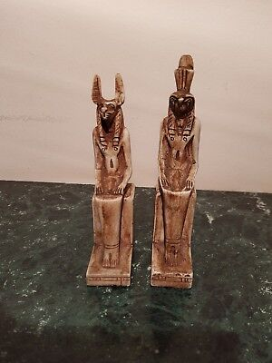 Rare Antique Ancient Egyptian  2 Statue God Anubis & Horus sit Throne1650-1570BC
