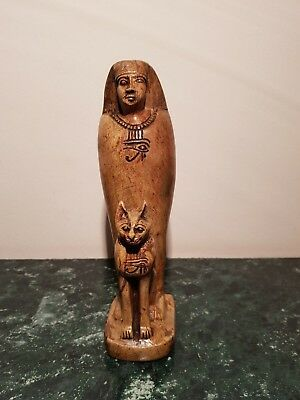 Rare Antique Ancient Egyptian Statue Pharaoh Horemheb & God Bastet 1319-1292BC