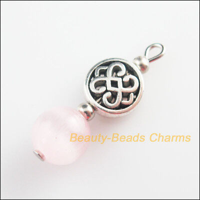 5 New Round Knot Charms Pink Cat Eye Beads Pendant Tibetan Silver Tone 10.5x29mm