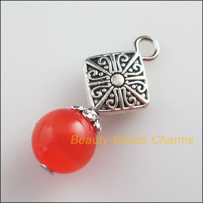 5 New Square Knot Charms Red Cat Eye Beads Pendants Tibetan Silver Tone 12x28mm