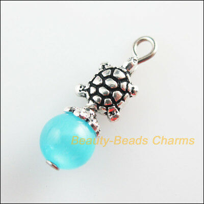 8 New Tortoise Charms Skyblue Cat Eye Beads Pendants Tibetan Silver Tone 8x24mm