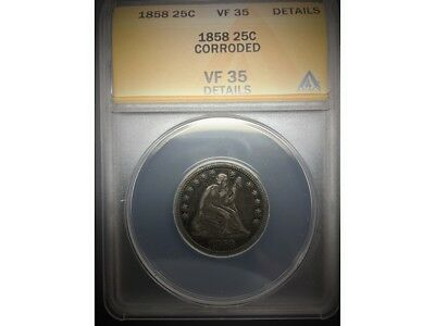 1858 Seated Liberty Quarter ANACS VF 35  Details
