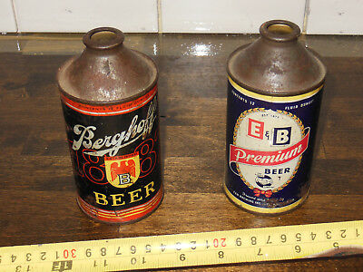 E & B Light Lager Cone Top Beer Can + Berghoff cone top VTG avg cond