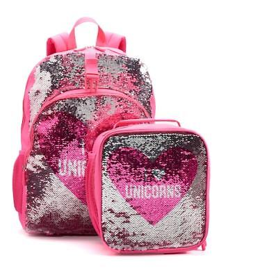NWT NEW Kids UNICORN PINK Sequin Backpack   Lunch Bag Set box