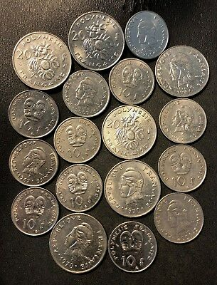Old French Polynesia Coin Lot - 18 Low Mintage Hard to Find COINS - Lot #716