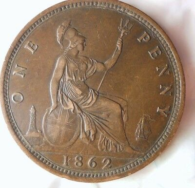 1862 GREAT BRITAIN PENNY - AU HIGH GRADE - RARE Vintage Coin - LOT #716