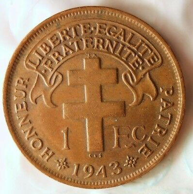 1943 CAMEROON FRANC - AU - Low Mintage Key - Rare Exotic African Coin - Lot #716