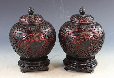 Pair Of Vintage Chinese Carved Cinnabar Tea Caddies With Wood Stands