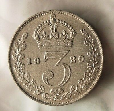 1920 GREAT BRITAIN 3 PENCE - AU - Low Mintage Vintage Silver Coin - Lot #716