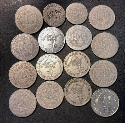 Old French West Africa Coin Lot - 16 Very Scarce Coins - Lot #716