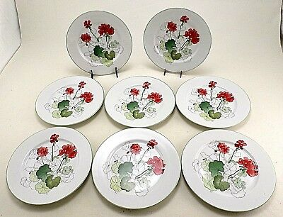 "8 Block Spal Geranium 8"" Salad Dessert Plate Watercolors -Mary Lou Goertzen 1981"