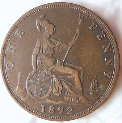 1892 GREAT BRITAIN PENNY - AU HIGH GRADE - RARE Vintage Coin - LOT #716