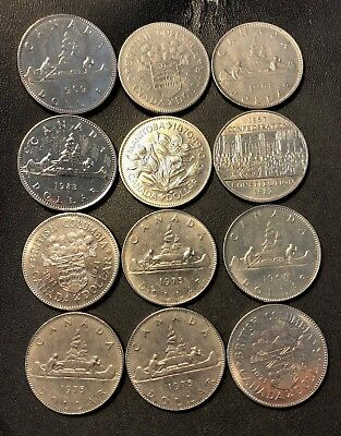 Old Canada Coin Lot - 12 AU/UNC Large Dollar Coins  - Lot #716