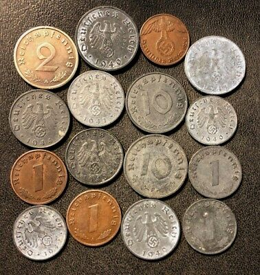 Vintage NAZI Germany Coin Lot - 16 Wartime Coins - Lot 716