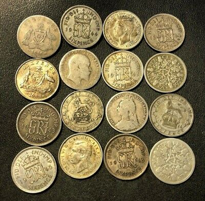 Vintage WORLD Silver Coin Lot - 1890-1945 - 16 Silver Coins - Lot #716