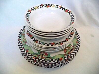 Set Of 12- Mary Engelbreit HOME SWEET HOME 4 Dinner, 4 Bowls, and 4 Salad/Desset