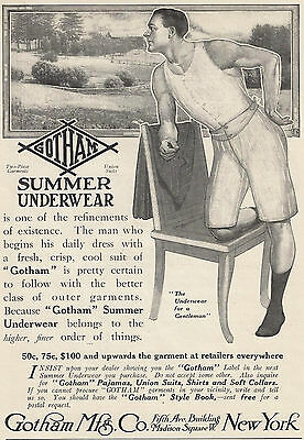 1911 Ad Mens Gotham Summer Underwear Union Suits Cool Guy Two-Piece Garments