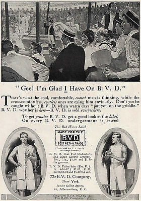 1913 Ad Man at Circus Glad He Has B. V. D. Underwear On Union Suit Or Welch's
