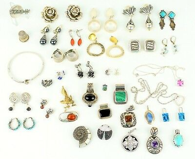 Lot STERLING SILVER Jewelry 345 GRAMS All Wearable! Not Scrap! Signed Turquoise+