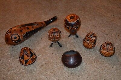 Peruvian Carved Gourd Lot of (7) Ornaments Bird Owls Fish