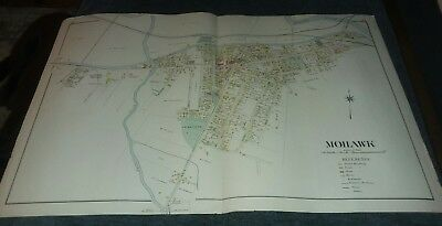 "ANTIQUE 1890S MOHAWK NY HAND COLORED MAP 34"" x 21.5""  RARE GREAT FOR GENEOLOGY"
