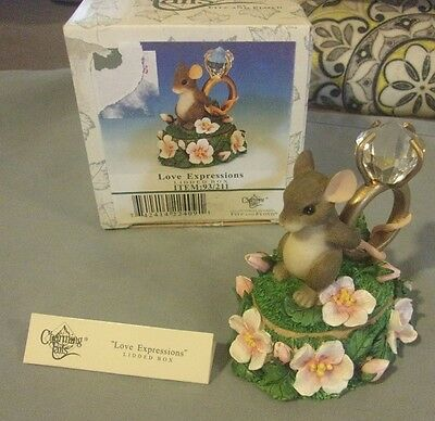 Charming Tails LOVE EXPRESSIONS Mouse LG Ring Lidded Box Fitz & Floyd Figurine