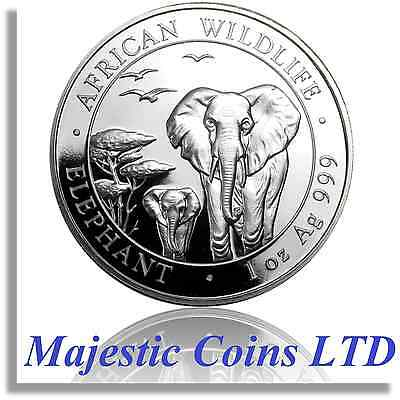 Air-Tite® 2015 Somalia Elephant Silver African Wildlife 1 Oz Majestic Coin