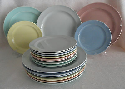 "Lot 20 LuRay TS&T - 9 1/4""  &  6 1/4"" Plates  Pink Green Yellow Blue Gray"