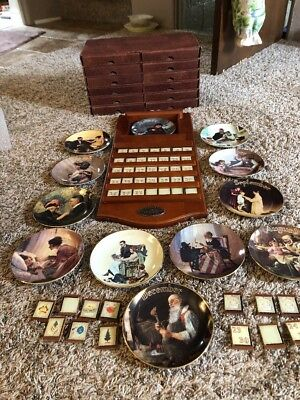 Bradford Exchange Norman Rockwell Perpetual Calendar With Tiles & 12 Plates