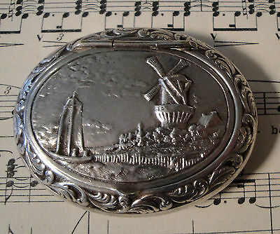 Antique French Silver Plated Pill Box Compact Rouge with Windmill & Boat c.1920