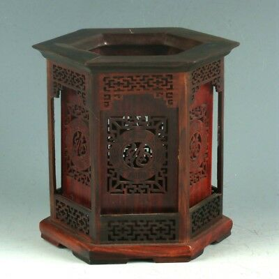 Chinese Exquisite Wood Handwork Carved Hollow Lucky Character Brush Pot MY0418