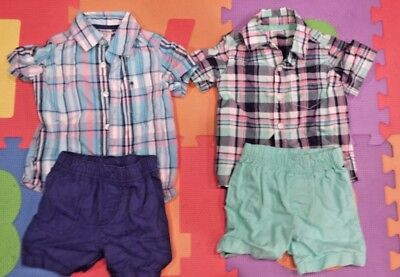 ba94f477d Carters Baby Boys 12 Month Summer Shorts Button Down Plaid Shirt Outfit  Twins