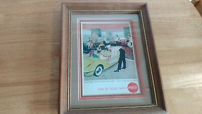 Vintage Coca-Cola Advertising Picture in Frame. Dated 1958