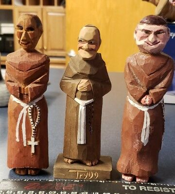 3 Carved Wooden Clergy