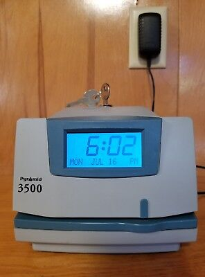 PYRAMID 3500 Time Clock With Keys ~EXC!~
