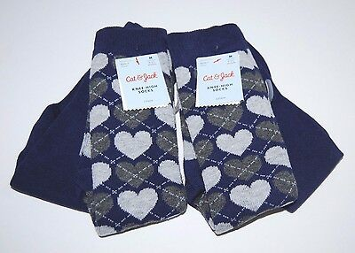 Socks Cat & Jack Knee High 4 Pair Medium Blue Gray Hearts Solid Shoe Size 9-2.5