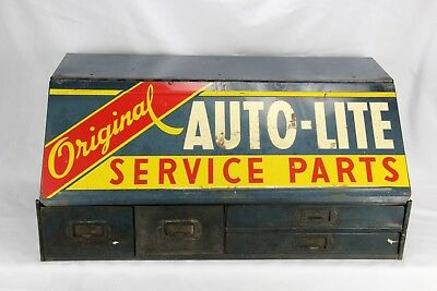 VINTAGE 1950's AUTOLITE SERVICE PARTS COUNTERTOP DEALER CABINET GAS OIL SIGN