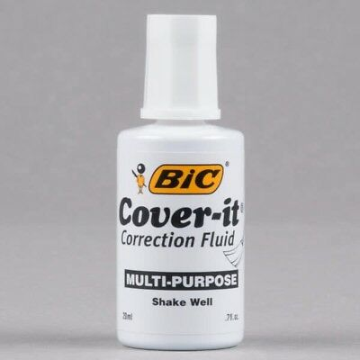 BIC Cover It White Out Correction Fluid Smooth Brush 0.7 oz 20 ml Office Supply