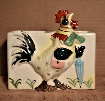 Vintage Ceramic Chicken Wall Pocket