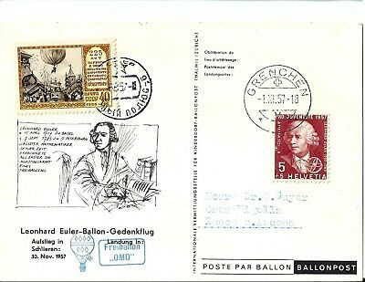 Air Mail - Switzerland - 8 Balloon flown covers/cards(see photos)