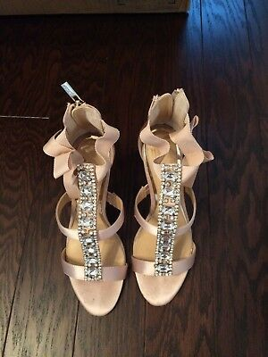 Embellished T-Strap Heels with Grosgrain Bow By Jewel Badgley Mischka