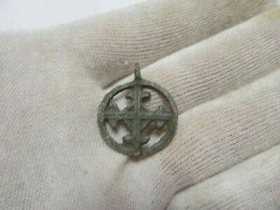 "Ancient bronze pendant ""Cross in circle"" Kievan Rus Vikings 10-13 AD № 416/4."