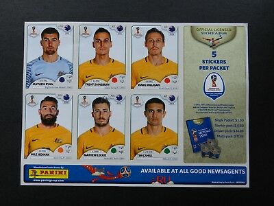Panini World Cup Russia 2018 Sticker Sheet, Aust Team - free post within Aust