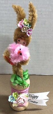 """Vintage Style Handmade CHENILLE EASTER BUNNY on Old SPOOL Decoration - 5"""" Tall"""
