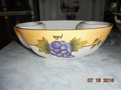 "Sonoma Villa XLarge Divided Chip/Dip Bowl Earthenware Home Interiors, 12"" Dia"
