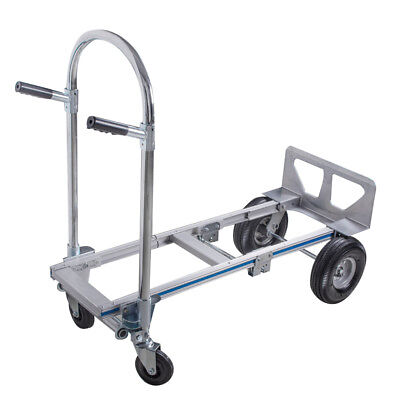 2in1 Aluminum Hand Truck 770LBS Convertible Foldable Dolly 4 Wheel Cart US Ship