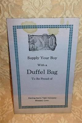 Rare Vintage Advertisement Duffel Bag Sterling Name Tape Co Winsted Connecticut