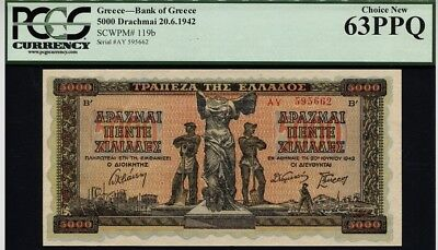 "1942 GREECE PK 119b 5000 DRACHMAII NOTE NIKE OF SAMOTHRACE"" PCGS 63 PPQ CHOICE!"