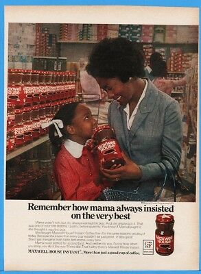 1977 Maxwell House Instant Coffee African American Mom Daughter Grocery Store AD